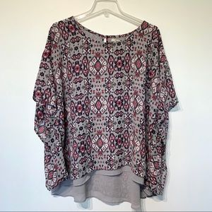 Ariat printed blouse loose flowy top boho gypsy